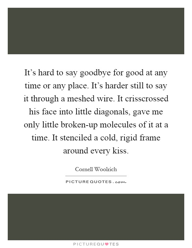 It's hard to say goodbye for good at any time or any place. It's harder still to say it through a meshed wire. It crisscrossed his face into little diagonals, gave me only little broken-up molecules of it at a time. It stenciled a cold, rigid frame around every kiss Picture Quote #1