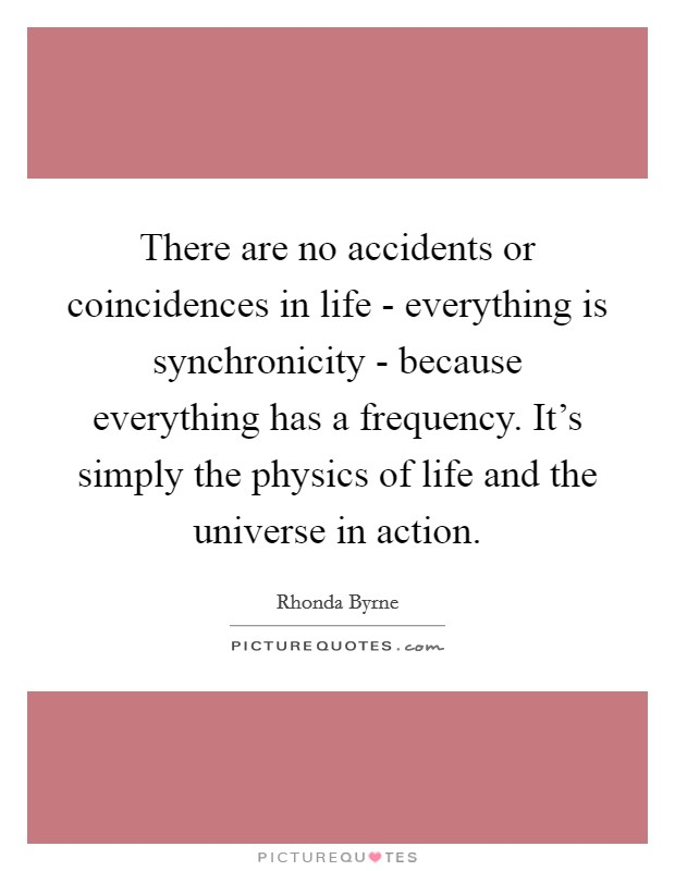There are no accidents or coincidences in life - everything is synchronicity - because everything has a frequency. It's simply the physics of life and the universe in action Picture Quote #1