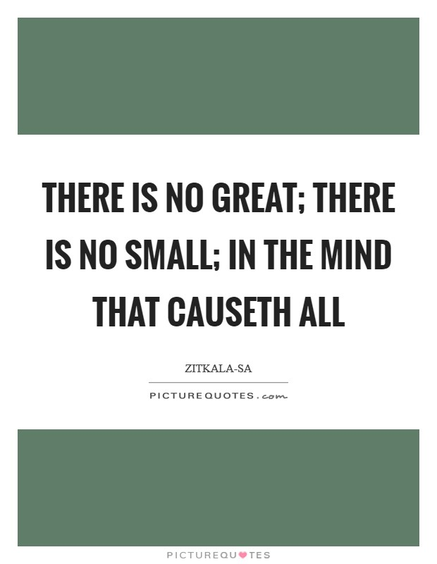 There is no great; there is no small; in the mind that causeth all Picture Quote #1