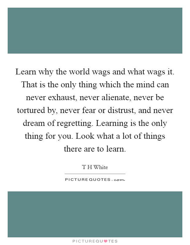 Learn why the world wags and what wags it. That is the only thing which the mind can never exhaust, never alienate, never be tortured by, never fear or distrust, and never dream of regretting. Learning is the only thing for you. Look what a lot of things there are to learn Picture Quote #1