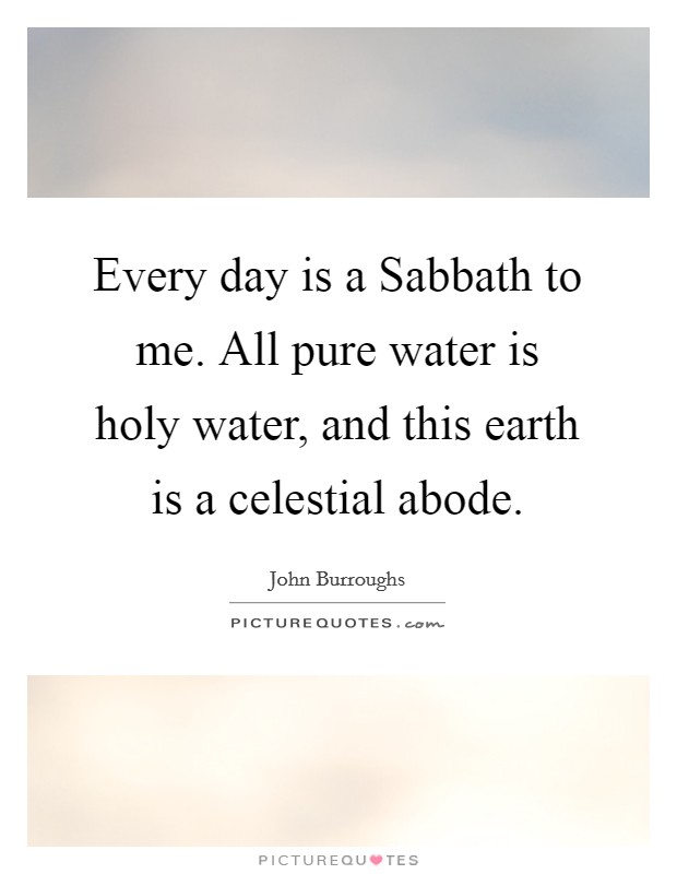 Every day is a Sabbath to me. All pure water is holy water, and this earth is a celestial abode Picture Quote #1
