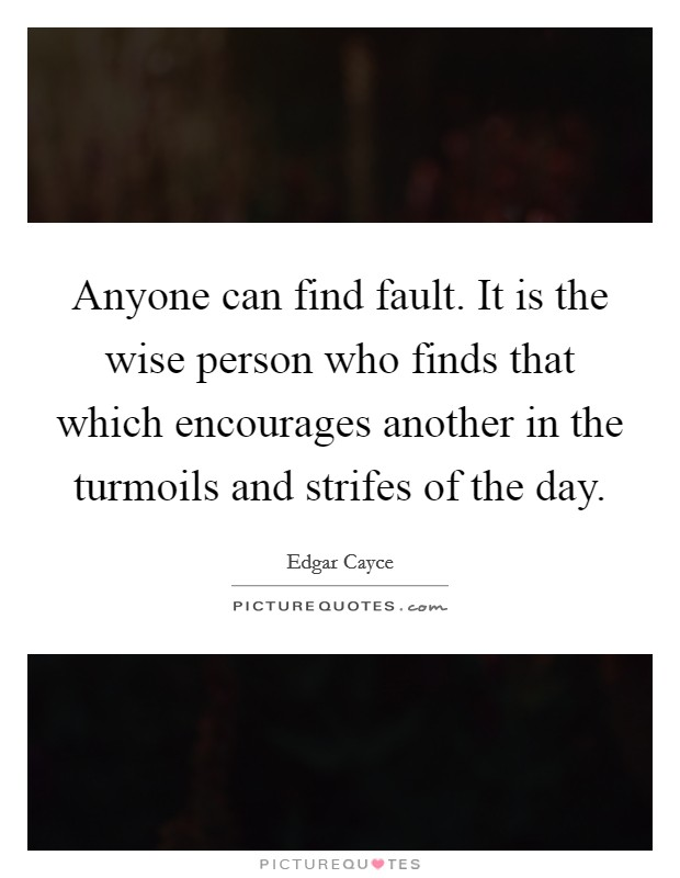 Anyone can find fault. It is the wise person who finds that which encourages another in the turmoils and strifes of the day Picture Quote #1