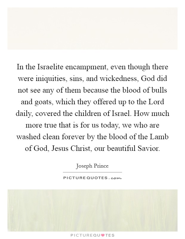 In the Israelite encampment, even though there were iniquities, sins, and wickedness, God did not see any of them because the blood of bulls and goats, which they offered up to the Lord daily, covered the children of Israel. How much more true that is for us today, we who are washed clean forever by the blood of the Lamb of God, Jesus Christ, our beautiful Savior Picture Quote #1