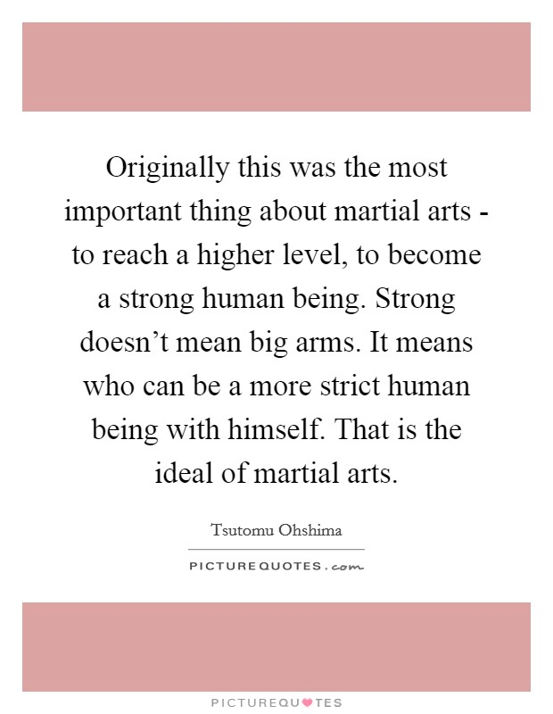 Originally this was the most important thing about martial arts - to reach a higher level, to become a strong human being. Strong doesn't mean big arms. It means who can be a more strict human being with himself. That is the ideal of martial arts Picture Quote #1