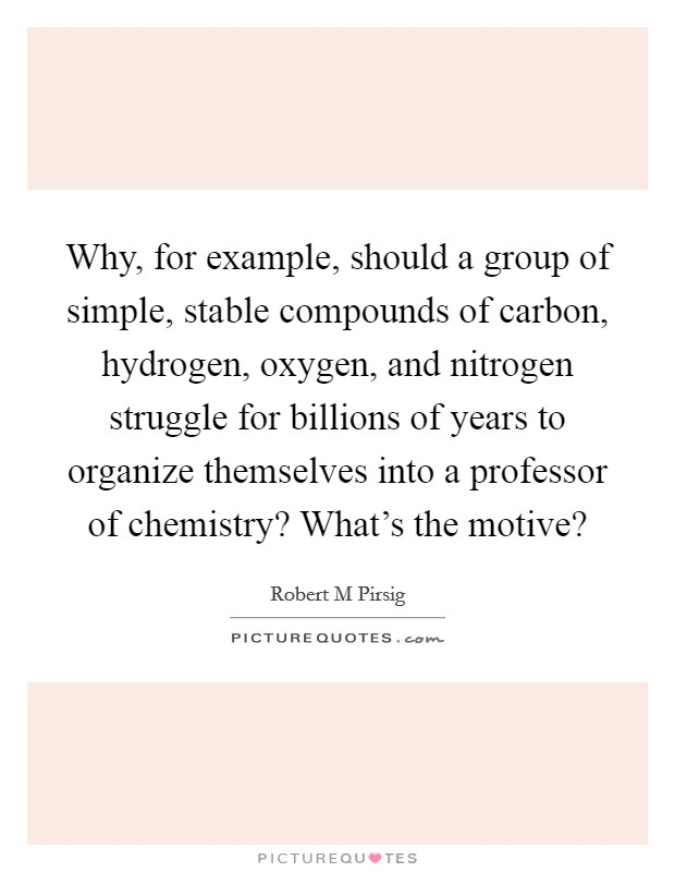 Why, for example, should a group of simple, stable compounds of carbon, hydrogen, oxygen, and nitrogen struggle for billions of years to organize themselves into a professor of chemistry? What's the motive? Picture Quote #1