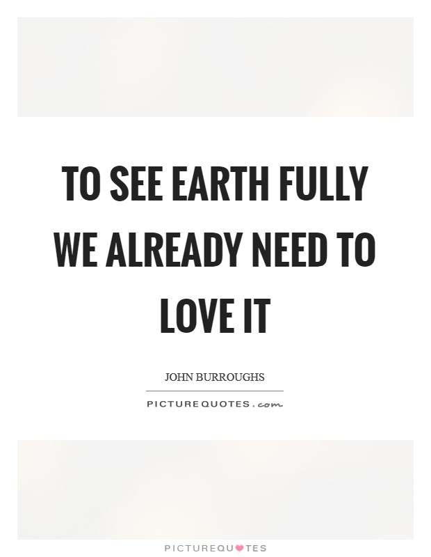 To see Earth fully we already need to love it Picture Quote #1