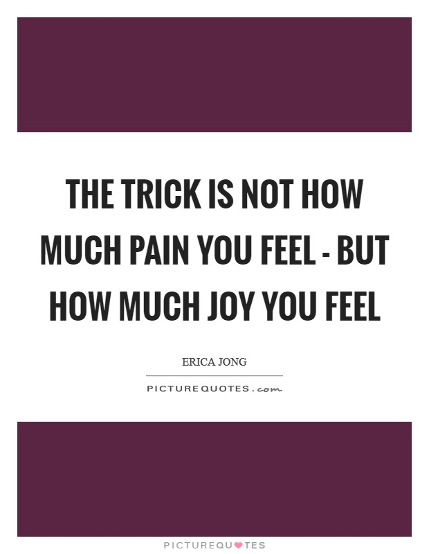 The trick is not how much pain you feel - but how much joy you feel Picture Quote #1