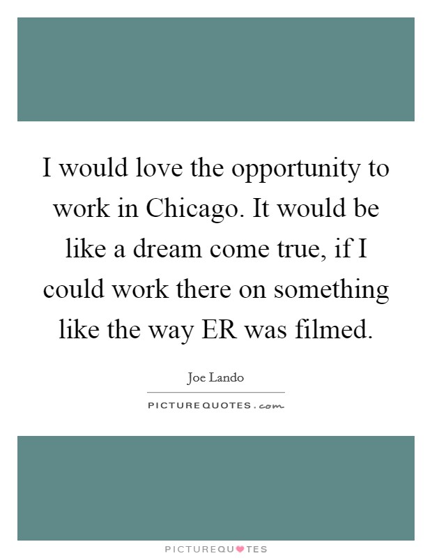 I would love the opportunity to work in Chicago. It would be like a dream come true, if I could work there on something like the way ER was filmed Picture Quote #1