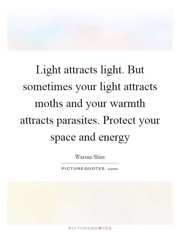 Light attracts light. But sometimes your light attracts moths and your warmth attracts parasites. Protect your space and energy Picture Quote #1