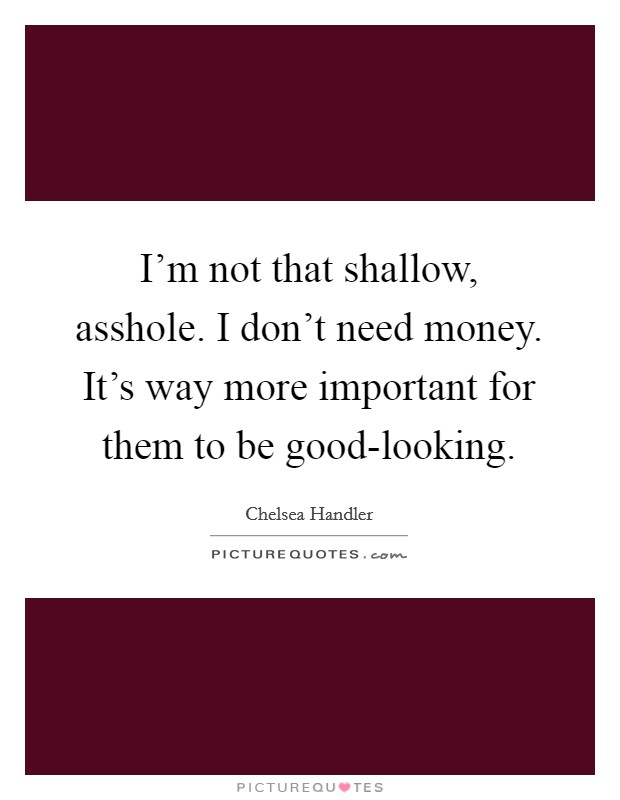 I'm not that shallow, asshole. I don't need money. It's way more important for them to be good-looking Picture Quote #1