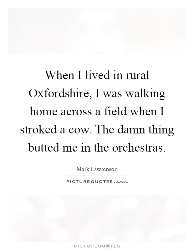 When I lived in rural Oxfordshire, I was walking home across a field when I stroked a cow. The damn thing butted me in the orchestras Picture Quote #1