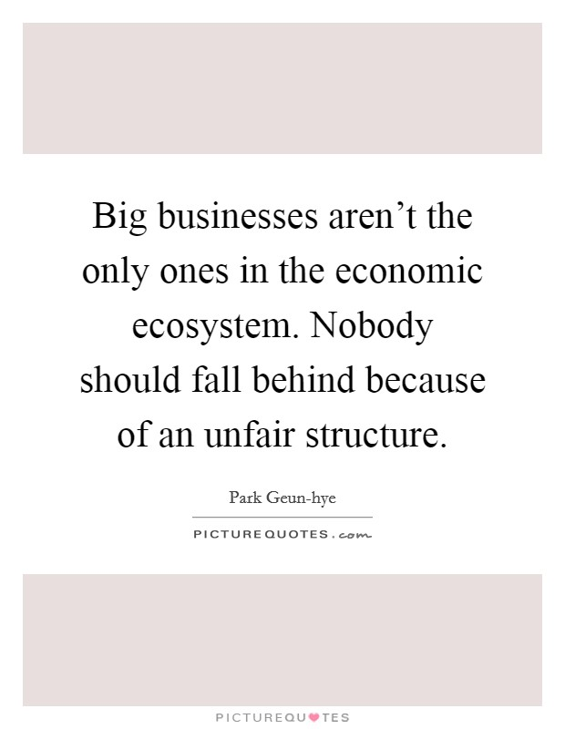 Big businesses aren't the only ones in the economic ecosystem. Nobody should fall behind because of an unfair structure Picture Quote #1