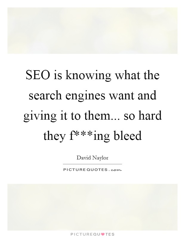 SEO is knowing what the search engines want and giving it to them... so hard they f***ing bleed Picture Quote #1
