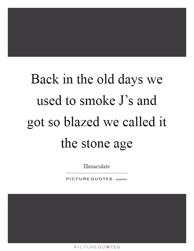 Back in the old days we used to smoke J's and got so blazed we called it the stone age Picture Quote #1