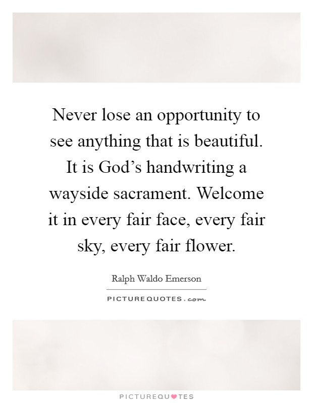 Never lose an opportunity to see anything that is beautiful. It is God's handwriting a wayside sacrament. Welcome it in every fair face, every fair sky, every fair flower Picture Quote #1