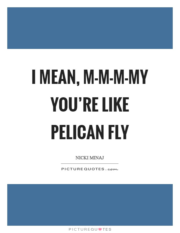 I mean, m-m-m-my you're like pelican fly Picture Quote #1