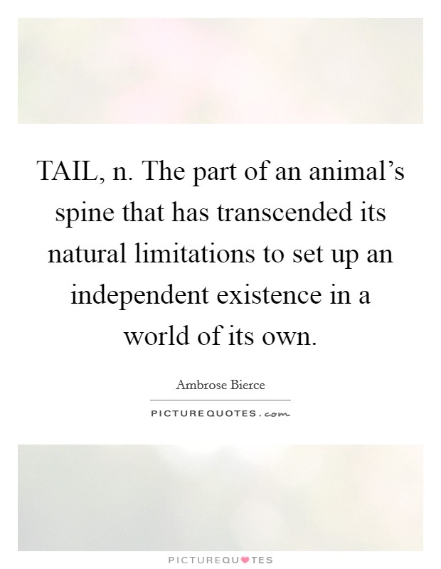 TAIL, n. The part of an animal's spine that has transcended its natural limitations to set up an independent existence in a world of its own Picture Quote #1