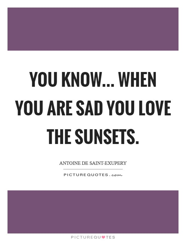 You know... when you are sad you love the sunsets Picture Quote #1