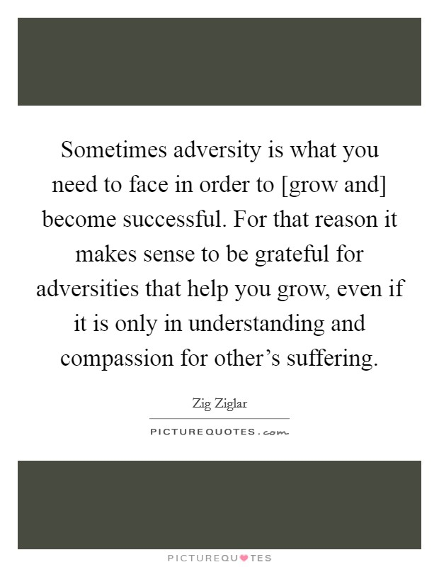 Sometimes adversity is what you need to face in order to [grow and] become successful. For that reason it makes sense to be grateful for adversities that help you grow, even if it is only in understanding and compassion for other's suffering Picture Quote #1