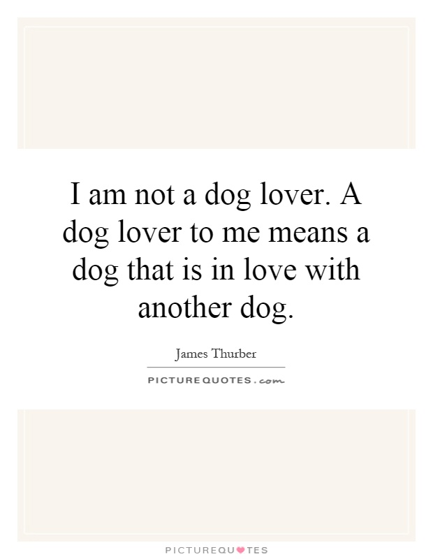 I am not a dog lover. A dog lover to me means a dog that is in love with another dog Picture Quote #1