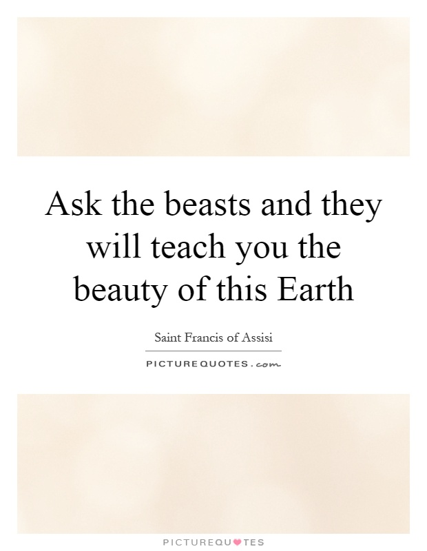 Ask the beasts and they will teach you the beauty of this Earth Picture Quote #1