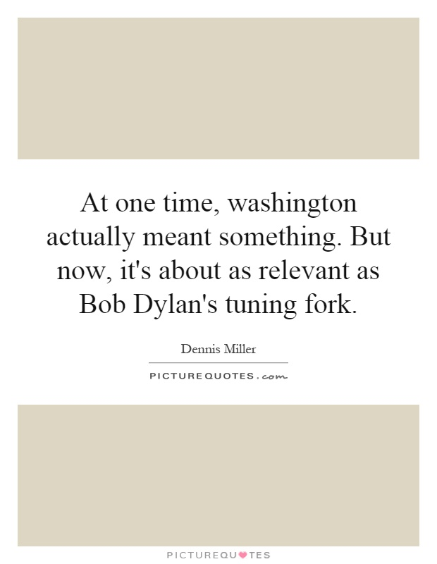 At one time, washington actually meant something. But now, it's about as relevant as Bob Dylan's tuning fork Picture Quote #1
