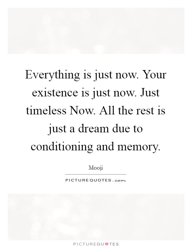 Everything is just now. Your existence is just now. Just timeless Now. All the rest is just a dream due to conditioning and memory Picture Quote #1