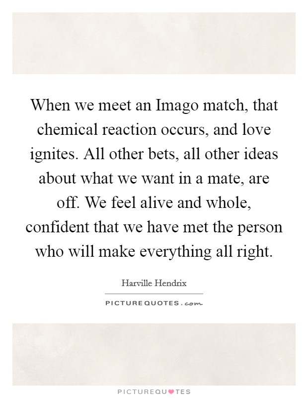 When we meet an Imago match, that chemical reaction occurs, and love ignites. All other bets, all other ideas about what we want in a mate, are off. We feel alive and whole, confident that we have met the person who will make everything all right Picture Quote #1