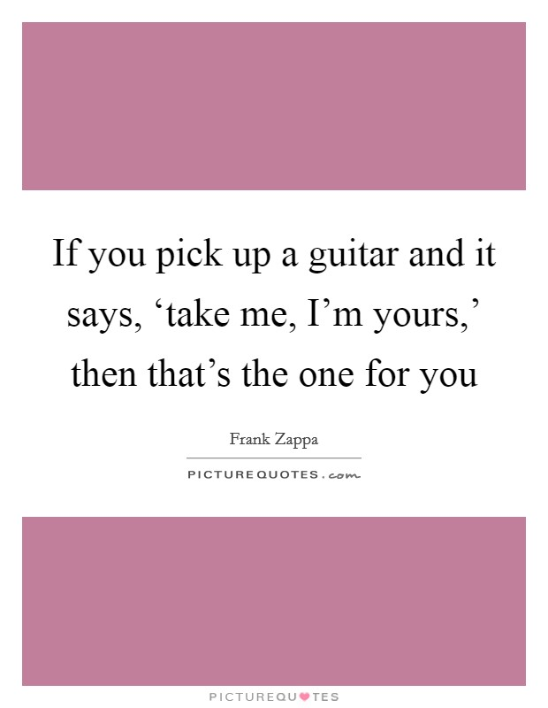 If you pick up a guitar and it says, 'take me, I'm yours,' then that's the one for you Picture Quote #1