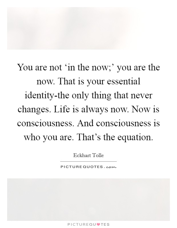 You are not 'in the now;' you are the now. That is your essential identity-the only thing that never changes. Life is always now. Now is consciousness. And consciousness is who you are. That's the equation Picture Quote #1