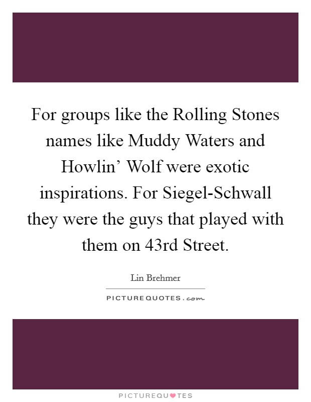 For groups like the Rolling Stones names like Muddy Waters and Howlin' Wolf were exotic inspirations. For Siegel-Schwall they were the guys that played with them on 43rd Street Picture Quote #1