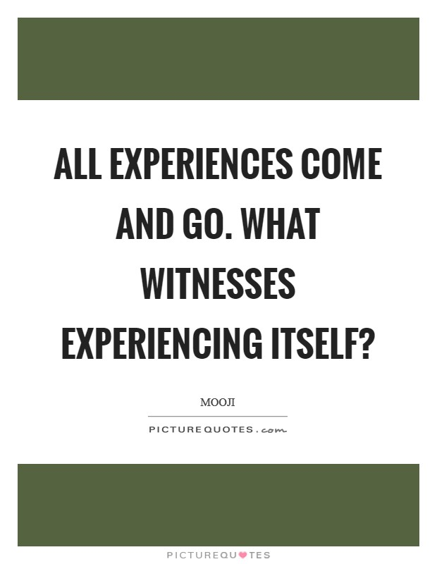 All experiences come and go. What witnesses experiencing itself? Picture Quote #1