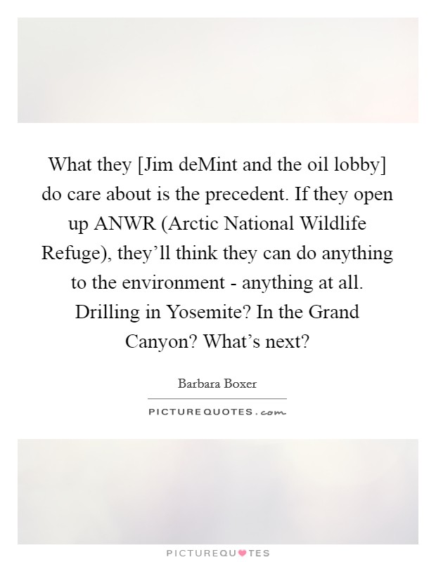 What they [Jim deMint and the oil lobby] do care about is the precedent. If they open up ANWR (Arctic National Wildlife Refuge), they'll think they can do anything to the environment - anything at all. Drilling in Yosemite? In the Grand Canyon? What's next? Picture Quote #1