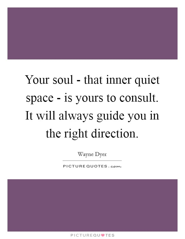Your soul - that inner quiet space - is yours to consult. It will always guide you in the right direction Picture Quote #1