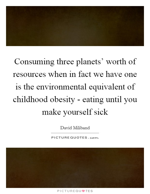 Consuming three planets' worth of resources when in fact we have one is the environmental equivalent of childhood obesity - eating until you make yourself sick Picture Quote #1