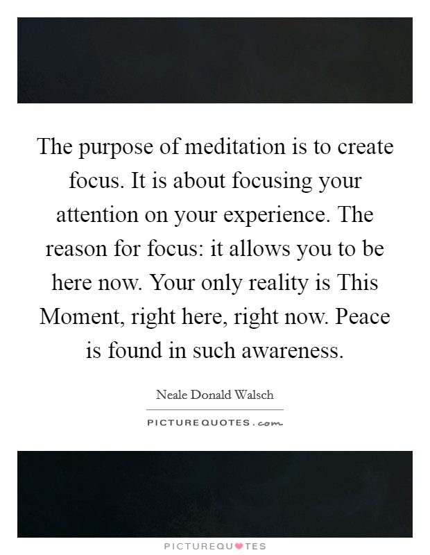 The purpose of meditation is to create focus. It is about focusing your attention on your experience. The reason for focus: it allows you to be here now. Your only reality is This Moment, right here, right now. Peace is found in such awareness Picture Quote #1