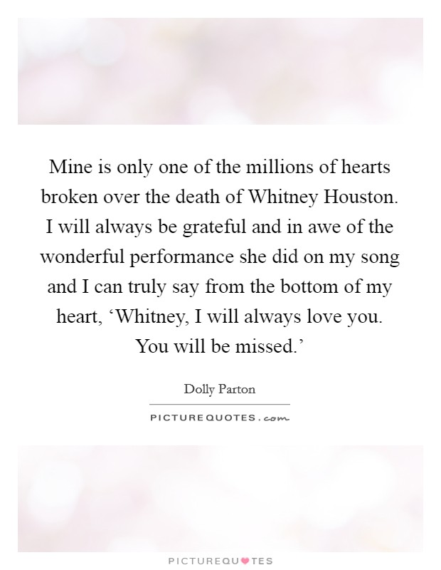 Mine Is Only One Of The Millions Of Hearts Broken Over The Death Of Whitney  Houston · Dexter, I Love ...