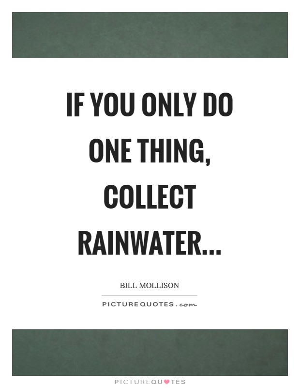 If you only do one thing, collect rainwater Picture Quote #1