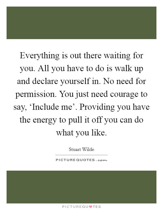 Everything is out there waiting for you. All you have to do is walk up and declare yourself in. No need for permission. You just need courage to say, 'Include me'. Providing you have the energy to pull it off you can do what you like Picture Quote #1