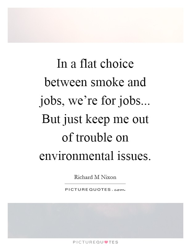 In a flat choice between smoke and jobs, we're for jobs... But just keep me out of trouble on environmental issues Picture Quote #1