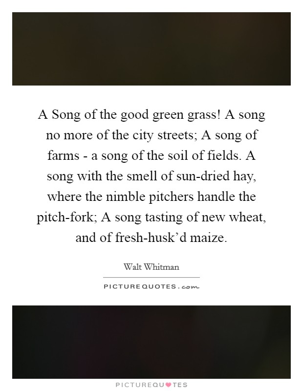 A Song of the good green grass! A song no more of the city streets; A song of farms - a song of the soil of fields. A song with the smell of sun-dried hay, where the nimble pitchers handle the pitch-fork; A song tasting of new wheat, and of fresh-husk'd maize Picture Quote #1