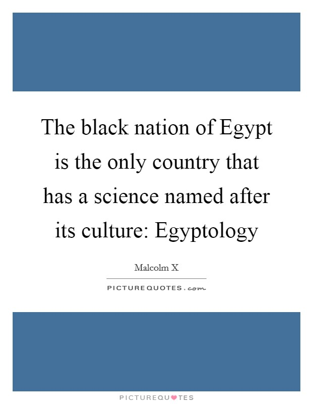 The black nation of Egypt is the only country that has a science named after its culture: Egyptology Picture Quote #1