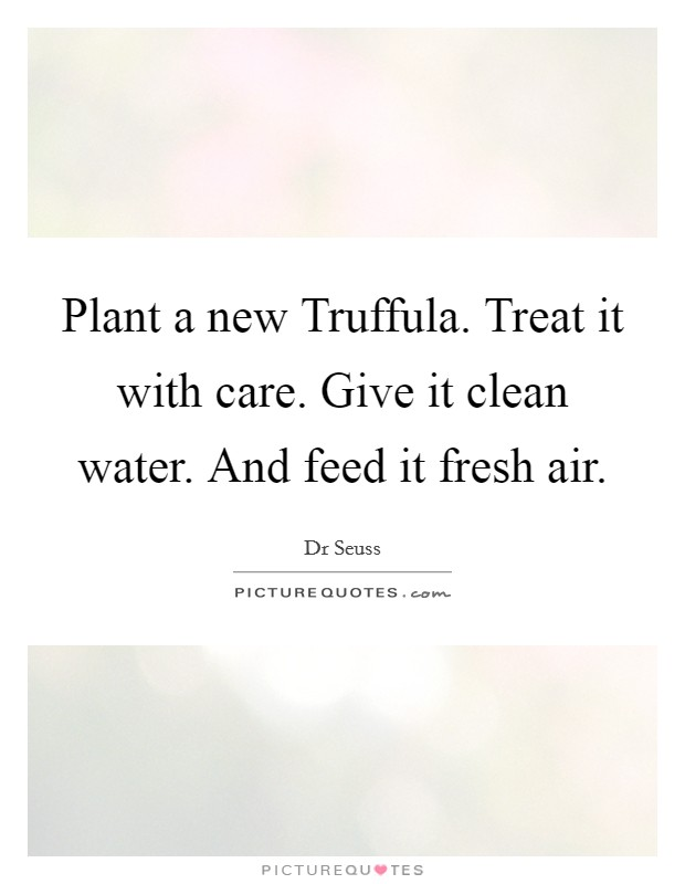 Plant a new Truffula. Treat it with care. Give it clean water. And feed it fresh air Picture Quote #1