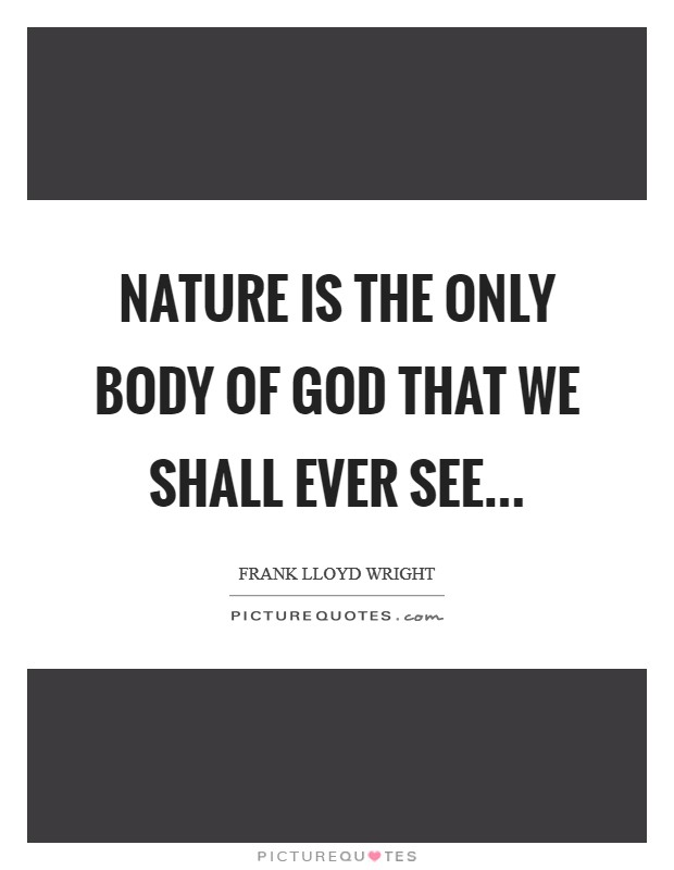 Nature is the only body of God that we shall ever see Picture Quote #1