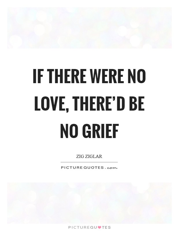 If there were no Love, there'd be no grief Picture Quote #1