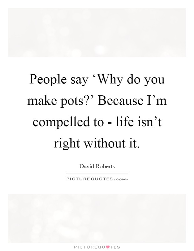 People say 'Why do you make pots?' Because I'm compelled to - life isn't right without it Picture Quote #1