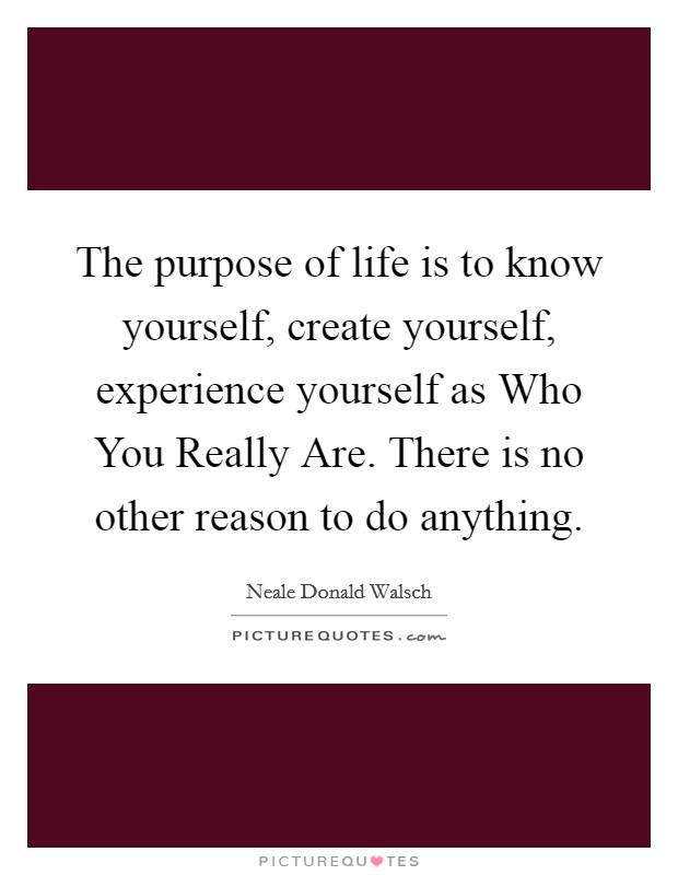 The purpose of life is to know yourself, create yourself, experience yourself as Who You Really Are. There is no other reason to do anything Picture Quote #1