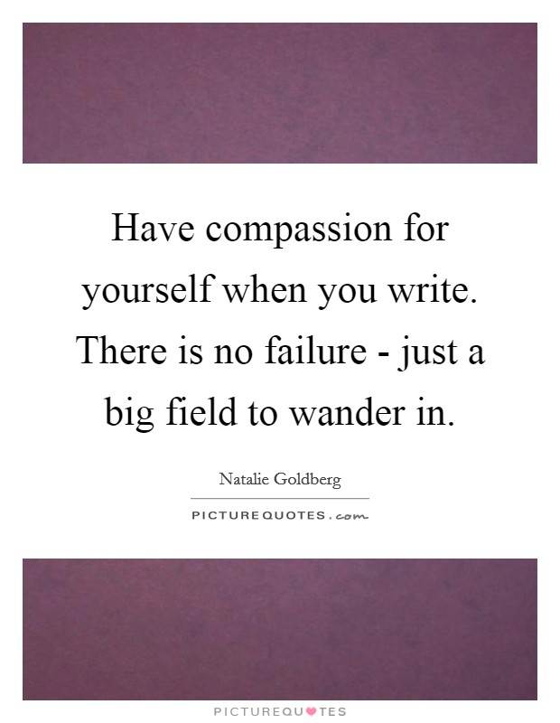 Have compassion for yourself when you write. There is no failure - just a big field to wander in Picture Quote #1