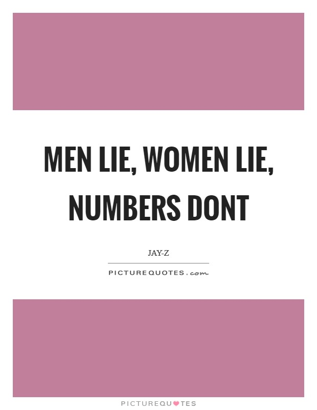 Men lie, women lie, numbers dont | Picture Quotes