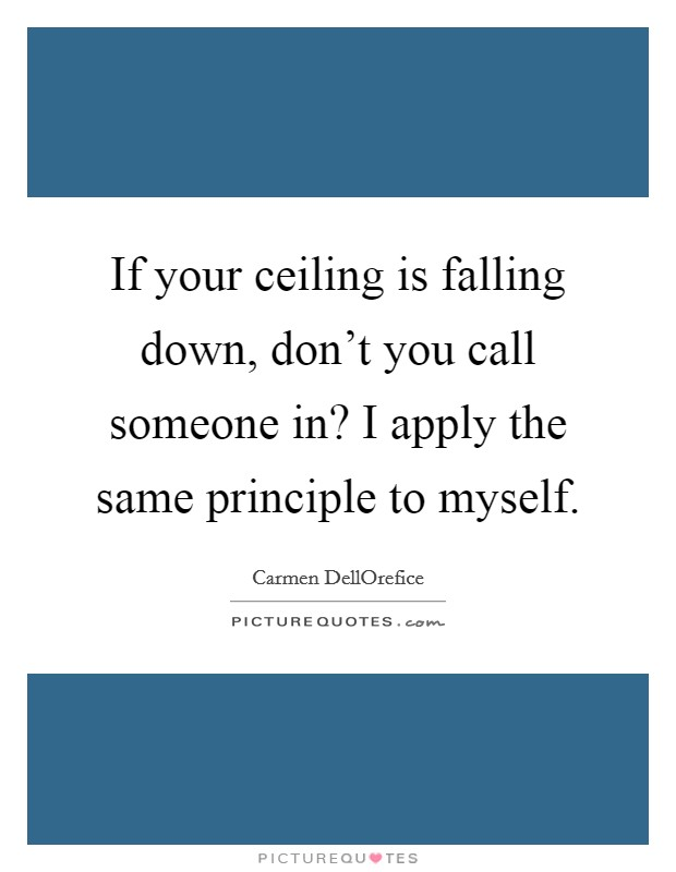 If your ceiling is falling down, don't you call someone in? I apply the same principle to myself Picture Quote #1
